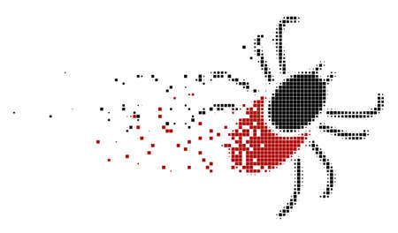 Dissolved mite tick dot vector icon with disintegration effect. Rectangle particles are grouped into dissipated mite tick figure.