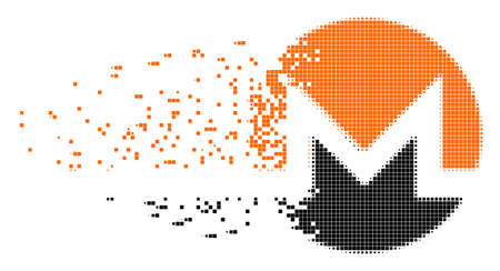 Dispersed Monero currency dot vector icon with disintegration effect. Square items are organized into dispersed Monero currency form. Illustration
