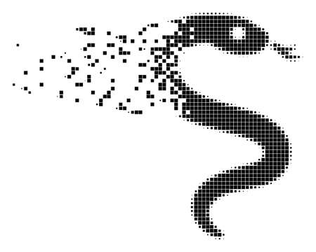 Dispersed snake dotted vector icon with disintegration effect. Rectangle fragments are grouped into dissolving snake figure.