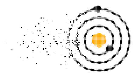 Dispersed Solar System dotted vector icon with disintegration effect. Rectangular pixels are grouped into dispersed Solar System shape.