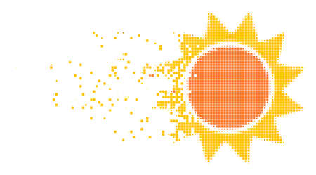 Dispersed sun dotted vector icon with disintegration effect. Rectangle items are composed into damaging sun form. Pixel disintegration effect demonstrates speed and motion of cyberspace objects.