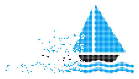 Dissolved sea boat dotted vector icon with disintegration effect. Rectangular dots are combined into dissolving sea boat form.