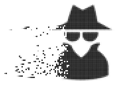 Fractured spy dot vector icon with disintegration effect. Rectangular elements are organized into dissolving spy form. Pixel dissipating effect demonstrates speed and motion of cyberspace matter.