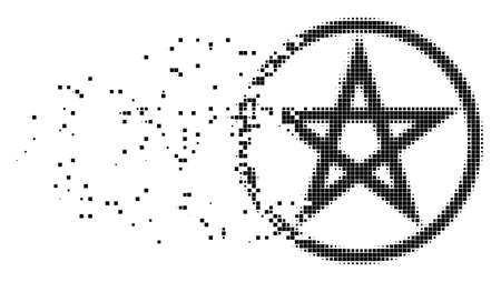 Fractured star pentacle dot vector icon with disintegration effect. Rectangular pieces are composed into dissipated star pentacle figure.