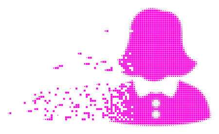 Dissolved woman dotted vector icon with disintegration effect. Rectangle particles are arranged into dissipated woman figure.