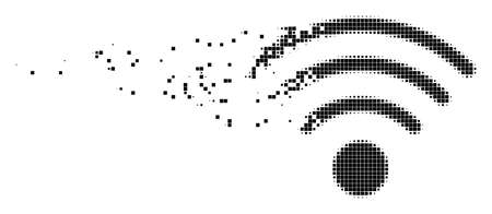 Fractured WiFi source dot vector icon with disintegration effect. Rectangle cells are grouped into dissipated WiFi source shape.