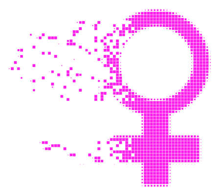 Dispersed Venus symbol dot vector icon with disintegration effect. Rectangle elements are grouped into dispersed Venus symbol figure.