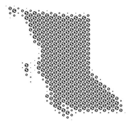 Football ball British Columbia Province map. Vector territory plan in gray color. Abstract British Columbia Province map mosaic is constructed from soccer spheres.