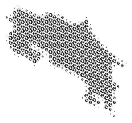 サッカーボールコスタリカのマップ。灰色の色でベクトルの領土の計画。抽象的なコスタリカの地図構成はサッカー球から構築されます。モザイク パターンは、16 進数タイル マトリックスに基づいています。