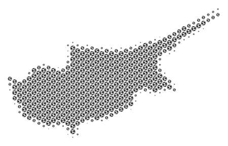 Football ball Cyprus Island map. Vector territorial plan in grey color. Abstract Cyprus Island map collage is formed with soccer spheres. Mosaic pattern is based on hex tile array.