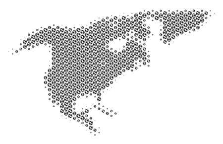 Football ball North America map. Vector geographic plan in gray color. Abstract North America map mosaic is made with soccer spheres. Mosaic pattern is based on hex-tile matrix. Vetores