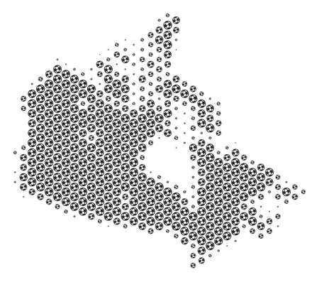 Football ball Canada map. Vector geographic scheme in gray color. Abstract Canada map mosaic is constructed of soccer balls. Mosaic pattern is based on hexagonal array.  イラスト・ベクター素材