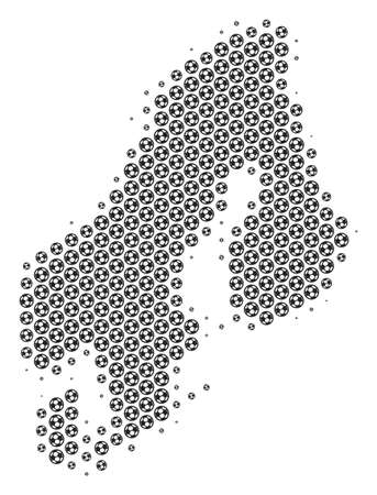 Football ball Scandinavia map. Vector territorial plan in grey color. Abstract Scandinavia map concept is formed from soccer balls. Mosaic pattern is based on hex tile array.  イラスト・ベクター素材