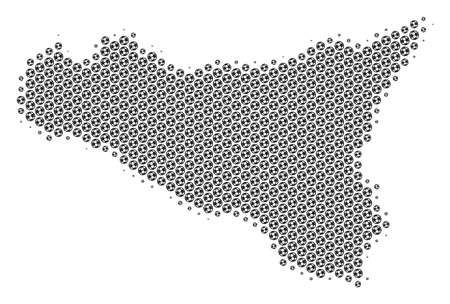 Football ball Sicilia map. Vector geographic scheme in gray color. Abstract Sicilia map composition is formed from soccer spheres. Mosaic pattern is based on hexagonal matrix.