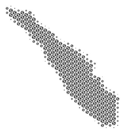 Football ball Sumatra Island map. Vector territorial scheme in gray color. Abstract Sumatra Island map composition is made with soccer balls. Mosaic pattern is based on hex-tile matrix. Illustration