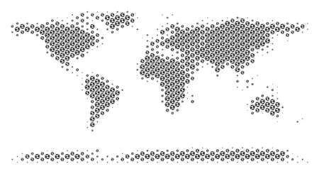 Football ball world continent map. Vector territorial plan in gray color. Abstract world continent map composition is combined of soccer balls. Mosaic pattern is based on hex-tile matrix. Ilustração