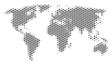 Football ball world map. Vector geographic scheme in gray color. Abstract world map concept is organized from soccer balls. Mosaic pattern is based on hex-tile array.