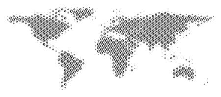 Football ball world map. Vector territory scheme in grey color. Abstract world map mosaic is constructed with soccer balls. Mosaic pattern is based on hex-tile grid. Ilustração
