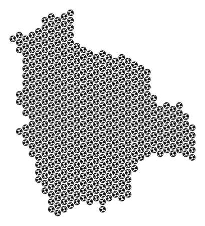 Football ball Bolivia map. Vector territory plan on a white background. Abstract Bolivia map composition is organized with soccer spheres. Mosaic pattern is based on hex tile matrix.