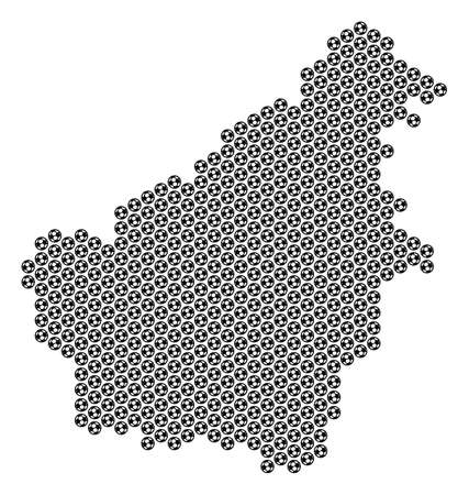Football ball Borneo Island map. Vector territorial scheme on a white background. Abstract Borneo Island map composition is constructed with soccer balls. Mosaic pattern is based on hexagonal matrix.