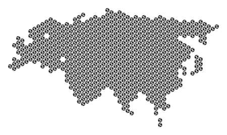 Football ball Eurasia map. Vector territorial plan on a white background. Abstract Eurasia map composition is constructed of soccer balls. Mosaic pattern is based on hex tile matrix.