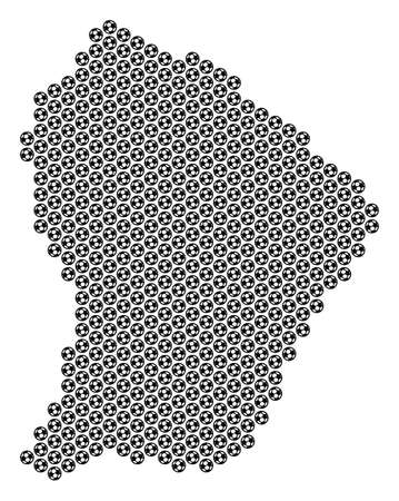 Football ball French Guiana map. Vector territorial scheme on a white background. Abstract French Guiana map composition is designed with soccer spheres. Mosaic pattern is based on hex tile matrix.