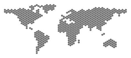 Football ball world map. Vector geographic plan on a white background. Abstract world map concept is made from soccer balls. Mosaic pattern is based on hexagonal grid. Ilustração