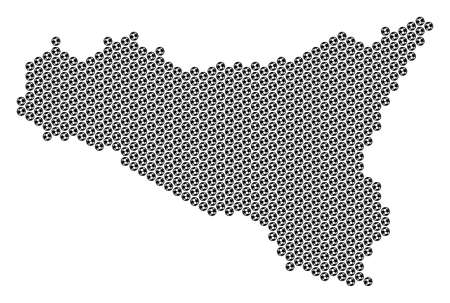 Football ball Sicilia map. Vector territory plan on a white background. Abstract Sicilia map composition is created from soccer balls. Mosaic pattern is based on hexagonal array.