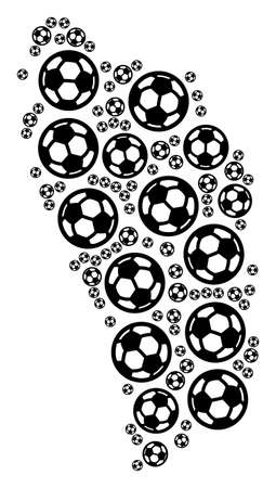 Football Dominica Island map. Vector territorial plan composed from football balls in different sizes. Abstract Dominica Island map composition is composed from random soccer spheres.