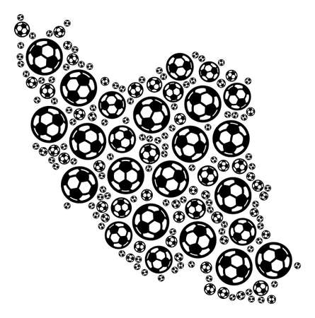Football Iran map. Vector territorial scheme composed from soccer balls in variable sizes. Abstract Iran map concept is designed with random soccer balls.