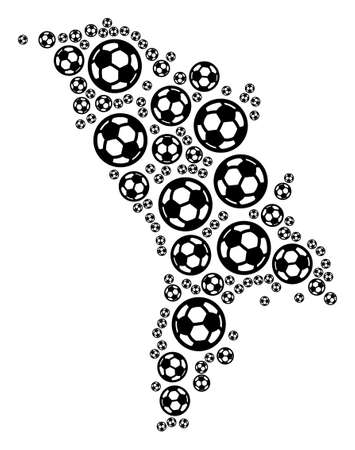 Football Moldova map. Vector geographic plan built from football balls in different sizes. Abstract Moldova map collage is formed from random soccer balls.