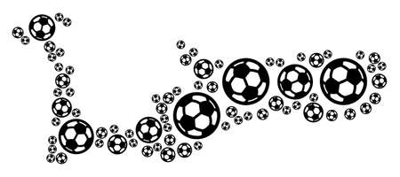 Football Grand Cayman Island map. Vector territory plan created from football spheres in different sizes. Abstract Grand Cayman Island map concept is combined with random soccer spheres.