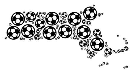 Football Massachusetts State map. Vector geographic scheme composed from soccer balls in variable sizes. Abstract Massachusetts State map composition is formed from random soccer spheres. 向量圖像