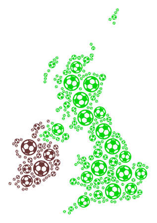 Football Great Britain and Ireland map. Vector geographic plan composed from soccer spheres in various sizes. Abstract Great Britain and Ireland map mosaic is done from scattered soccer spheres.
