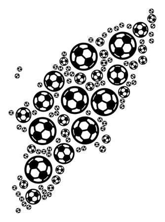 Football Greek Rhodes Island map. Vector territory plan built from soccer balls in variable sizes. Abstract Greek Rhodes Island map collage is composed with scattered soccer balls. Vettoriali