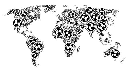 Football world map. Vector geographic plan composed from soccer balls in variable sizes. Abstract world map composition is composed with randomized soccer balls.