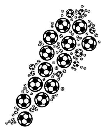 Football Lebanon map. Vector geographic scheme built from soccer spheres in variable sizes. Abstract Lebanon map collage is done with random soccer spheres.