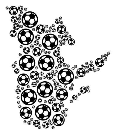 Football Quebec Province map. Vector geographic plan created from soccer spheres in various sizes. Abstract Quebec Province map mosaic is combined from randomized soccer spheres.
