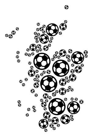 Football Scotland map. Vector territorial plan made from soccer balls in various sizes. Abstract Scotland map collage is constructed from randomized soccer spheres.