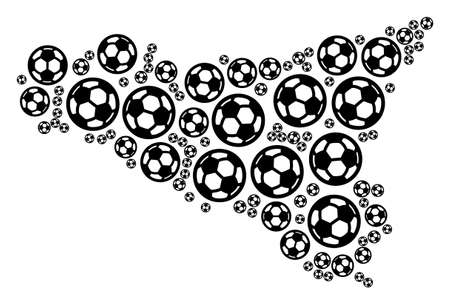 Football Sicilia map. Vector territorial plan built from soccer balls in variable sizes. Abstract Sicilia map mosaic is formed with random soccer balls. Mosaic pattern for sport championship collages. Illustration