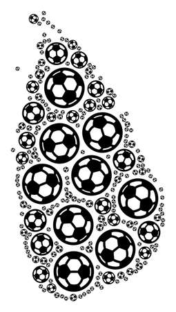 Football Sri Lanka Island map. Vector territorial scheme made from soccer balls in various sizes. Abstract Sri Lanka Island map mosaic is constructed from scattered soccer spheres.