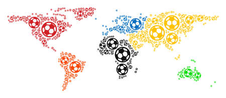Football world map. Vector territory scheme made from soccer spheres in variable sizes. Abstract world map collage is made of randomized soccer balls. Mosaic pattern for sport championship collages.