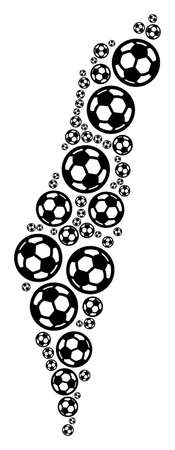 Football Israel map. Vector territorial scheme created from soccer spheres in various sizes. Abstract Israel map collage is done with randomized soccer balls.