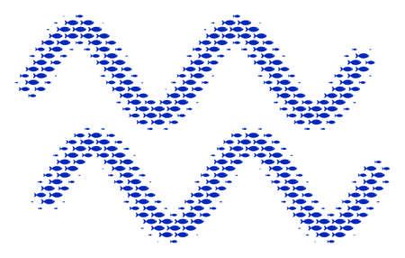 Fish sinusoid waves halftone composition. Vector fish symbols are composed into sinusoid waves collage. Stock Illustratie
