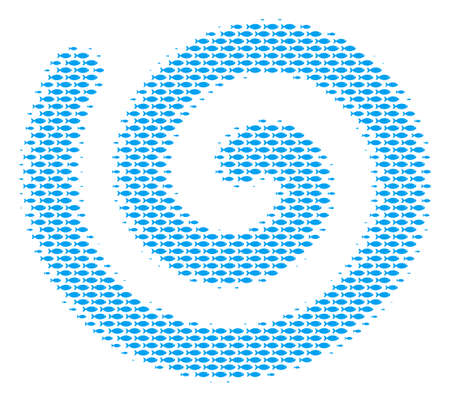 Fish spiral halftone mosaic. Vector fish pictograms are formed into spiral composition. Иллюстрация
