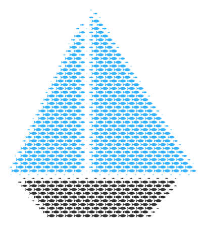 Fish yacht halftone mosaic. Vector fish items are composed into yacht illustration. Illustration