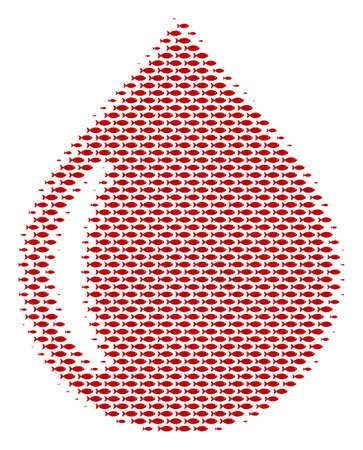 Fish drop halftone mosaic. Vector fish items are arranged into drop collage. Illustration