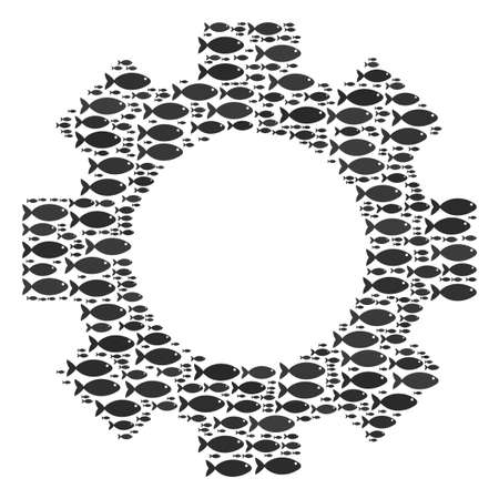 Gear vector mosaic. Abstraction is created from fish pictograms in different sizes. Seafood items are grouped into gear mosaic structure.