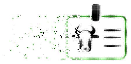 Gepunktete Vektorikone des gebrochenen Kuhabzeichens mit Windeffekt. Quadratische Partikel werden zu einer schädlichen Kuhabzeichenform kombiniert. Der Pixelabrieb-Effekt demonstriert die Geschwindigkeit und Bewegung von Cyberspace-Dingen.