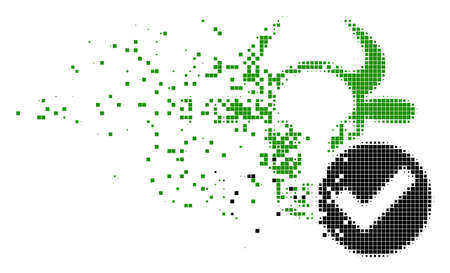 Dissolved cow valid dotted vector icon with erosion effect. Rectangular fragments are grouped into damaging cow valid shape. Pixel abrasion effect shows speed and movement of cyberspace things.